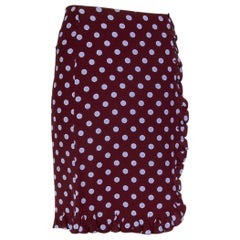 PRADA brown & lilac silk POLKA DOT Knee-Length Skirt 38 XS