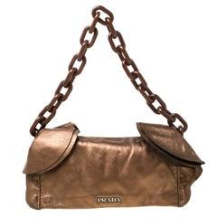 Prada Brown Metallic Leather Ruffle Shoulder Bag