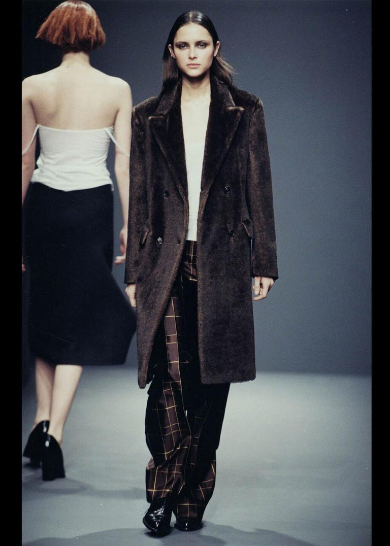 Black Prada brown mohair double-breasted coat, fw 1997