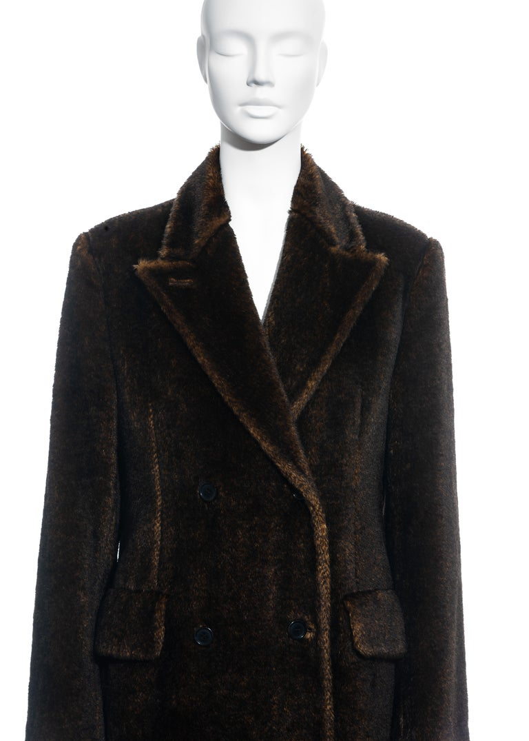 Prada brown mohair double-breasted coat, fw 1997 In Good Condition In London, GB