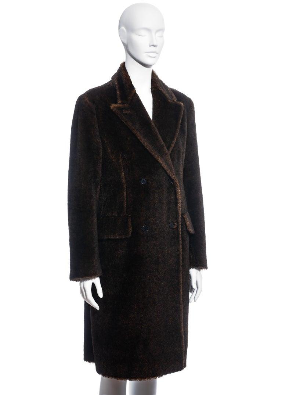 Women's Prada brown mohair double-breasted coat, fw 1997
