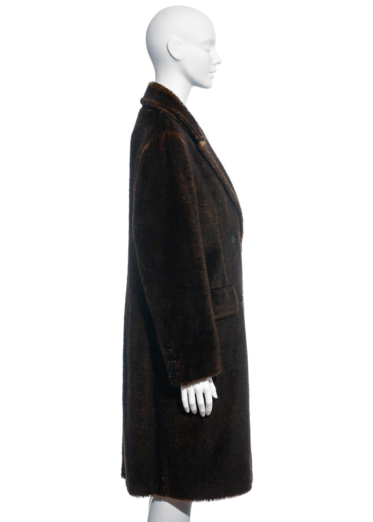 Prada brown mohair double-breasted coat, fw 1997 1