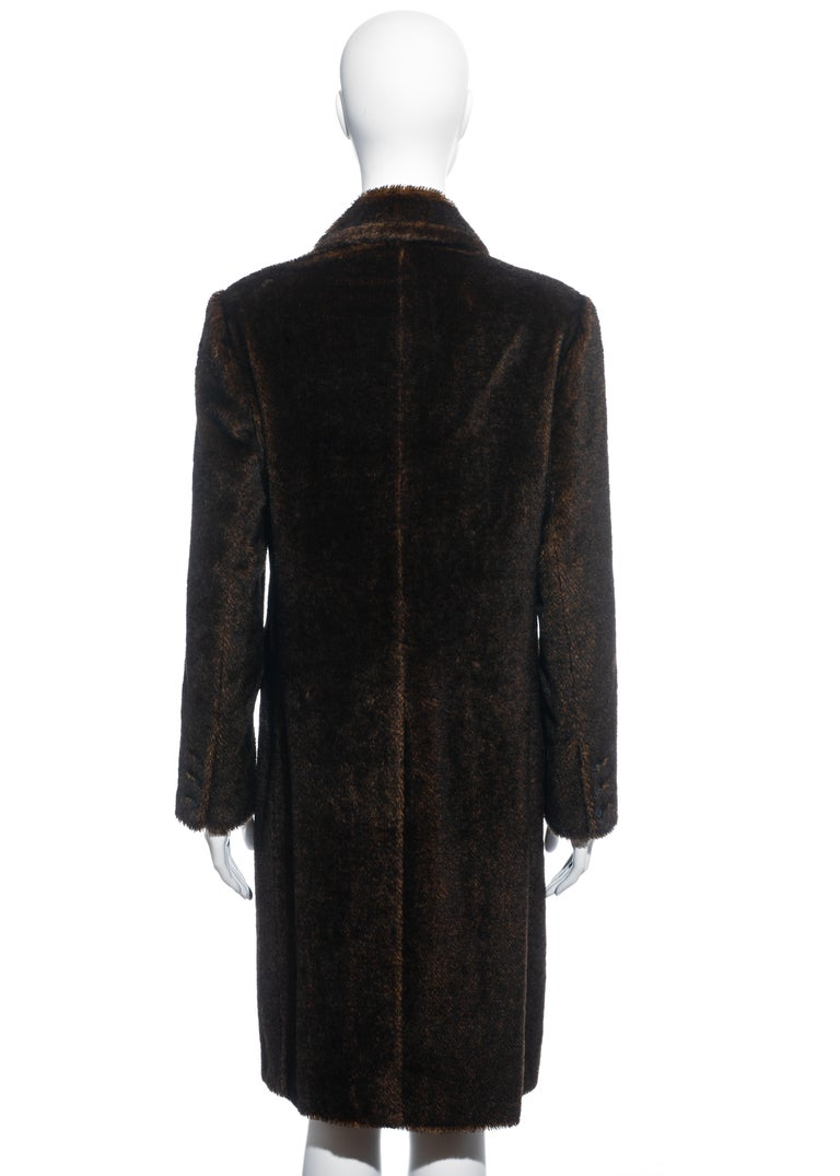 Prada brown mohair double-breasted coat, fw 1997 2