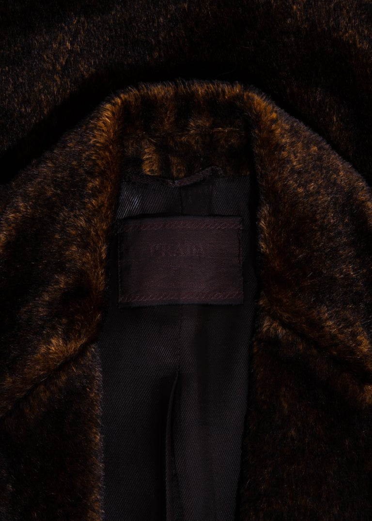 Prada brown mohair double-breasted coat, fw 1997 3