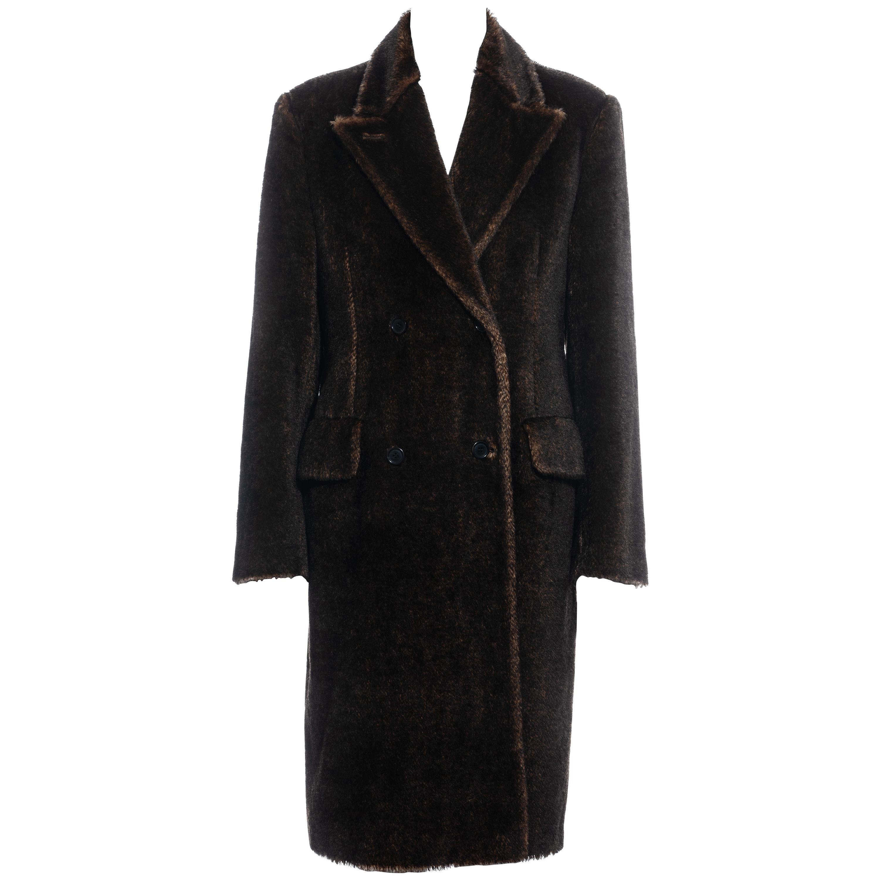 Prada brown mohair double-breasted coat, fw 1997