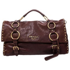 Prada Brown Nappa Leather Aviator Studded Satchel