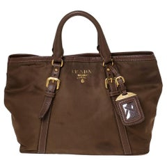Prada Brown Nylon and Leather Buckle Tote