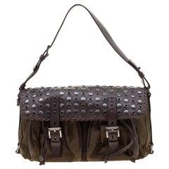Prada Brown Nylon and Leather Studded Shoulder Bag