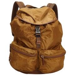 Prada Brown Nylon Fabric Drawstring Backpack Italy
