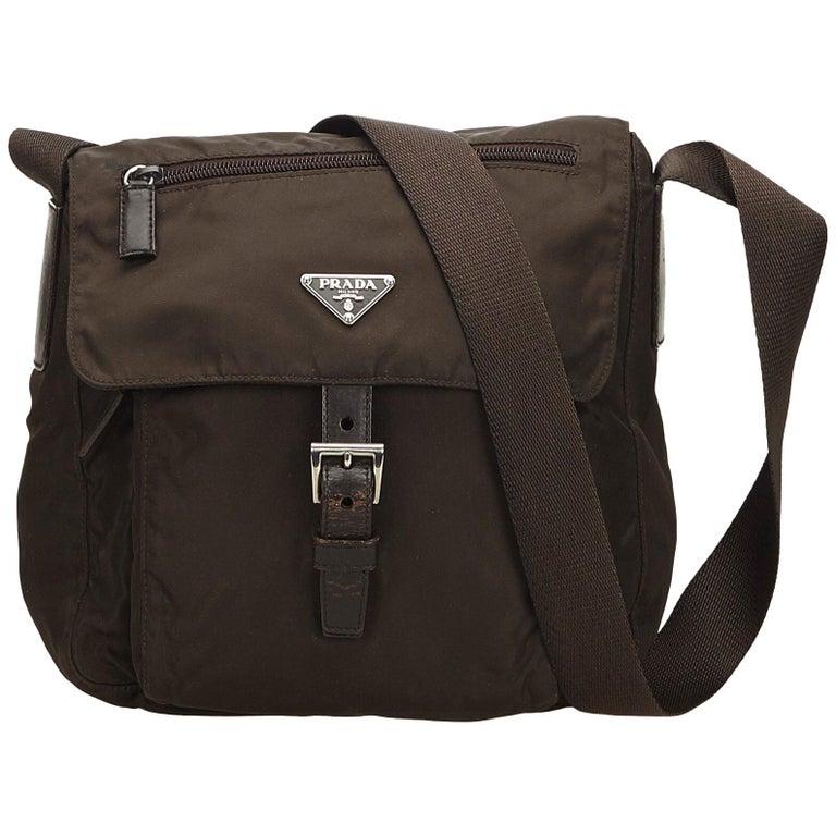 bda4303f9cf0 Prada Brown Nylon Messenger Bag For Sale. This crossbody ...