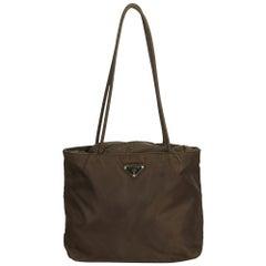 Prada Brown Nylon Tote Bag