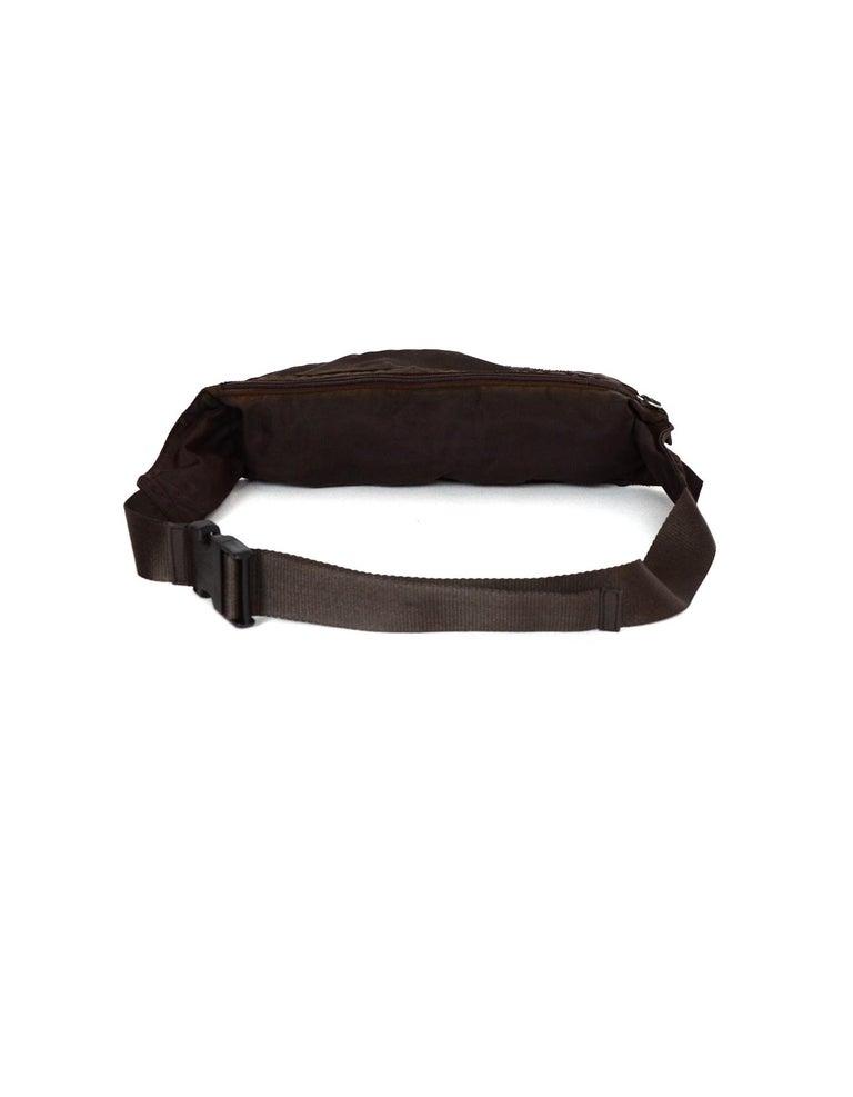 Black Prada Brown Nylon Zip Front Waist Bag/Fanny Pack For Sale