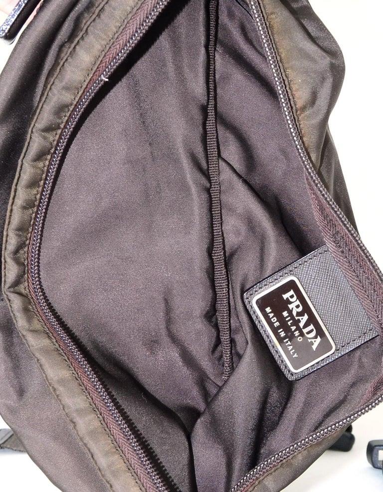 Prada Brown Nylon Zip Front Waist Bag/Fanny Pack For Sale 1