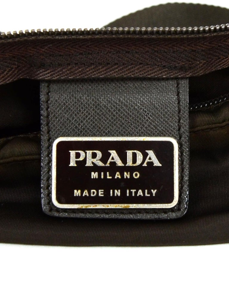 Prada Brown Nylon Zip Front Waist Bag/Fanny Pack For Sale 2