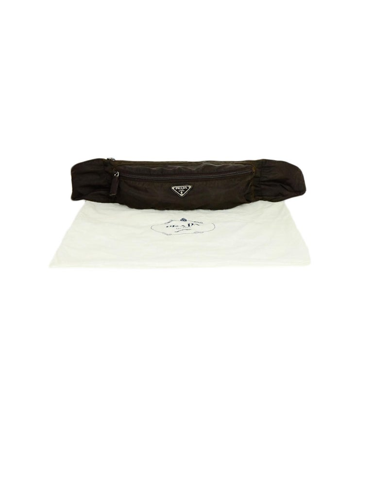Prada Brown Nylon Zip Front Waist Bag/Fanny Pack For Sale 4
