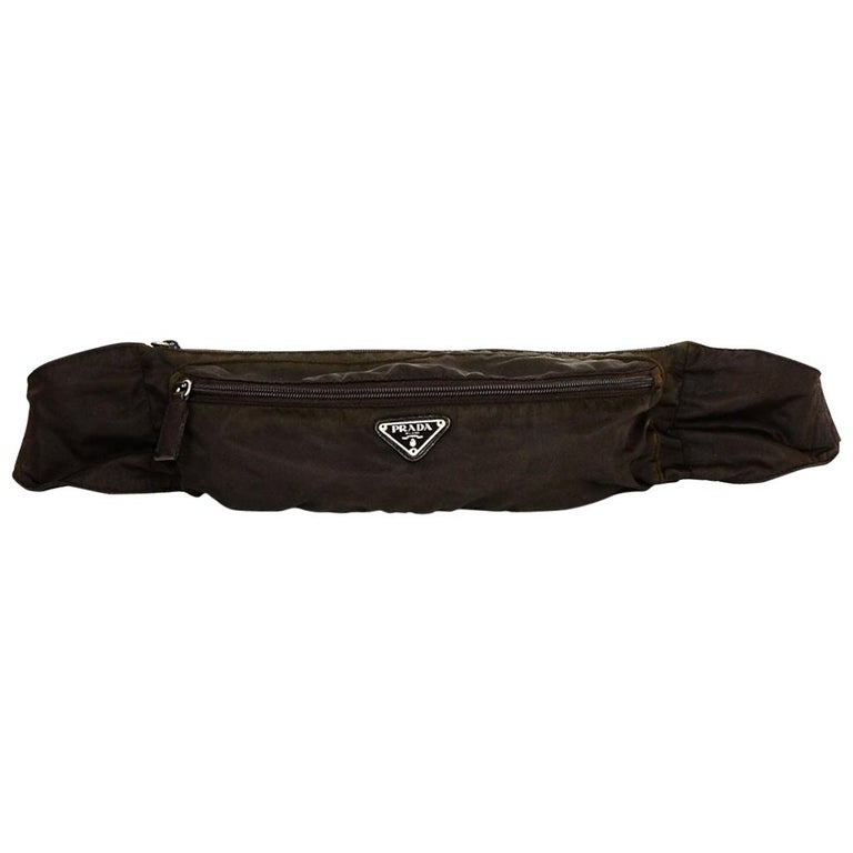 Prada Brown Nylon Zip Front Waist Bag/Fanny Pack For Sale