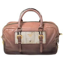Prada Brown Ombre Glace Leather Zippers Bauletto Bag