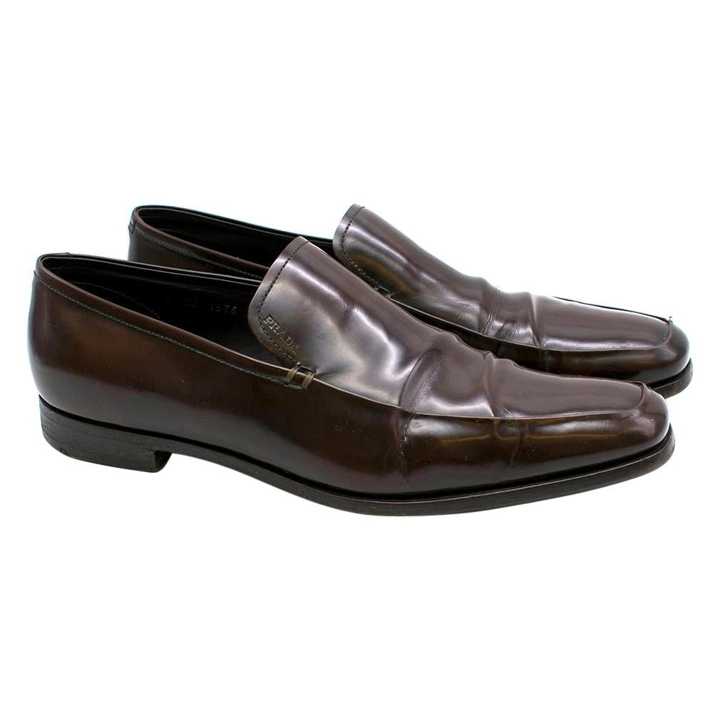 Prada Brown Patent Leather Moccasin Loafers 8