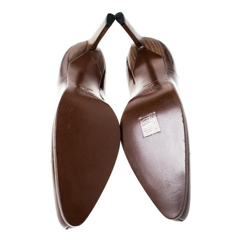 Prada Brown Patent Leather Pointed Toe Pumps Size 38 For Sale 1