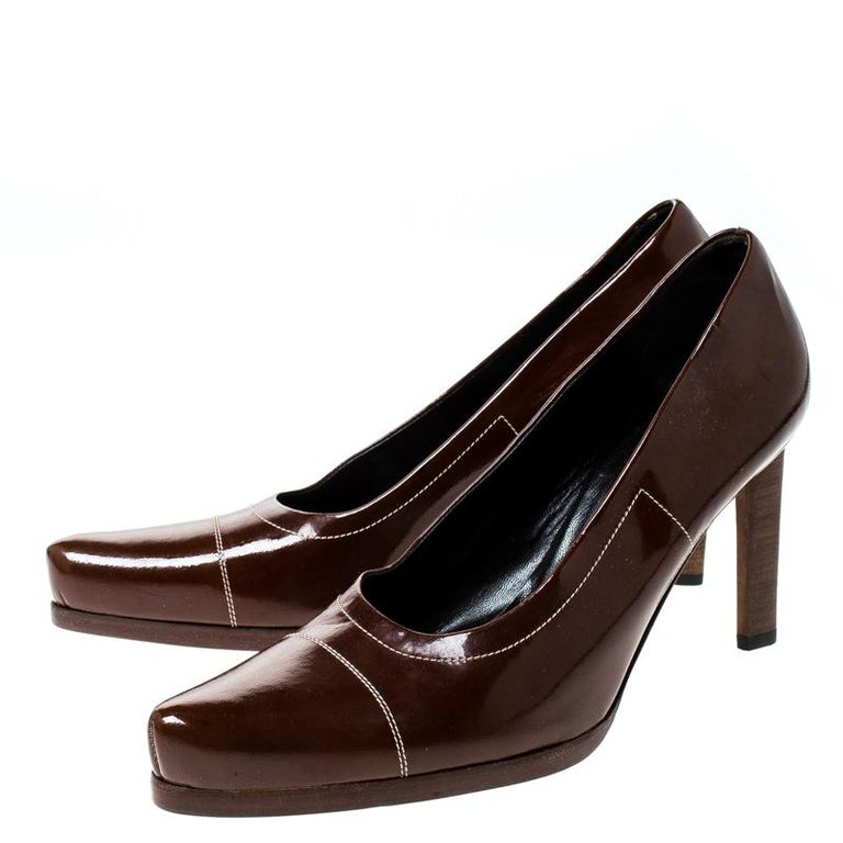Prada Brown Patent Leather Pointed Toe Pumps Size 38 For Sale 2