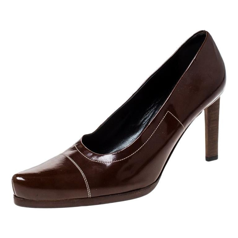 Prada Brown Patent Leather Pointed Toe Pumps Size 38 For Sale