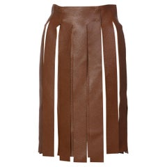 Prada Brown Pebbled Leather Fringe Waist Belt / Skirt Overlay