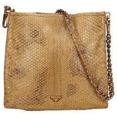 00a8db35b314 Prada Brown Python Leather Chain Shoulder Bag