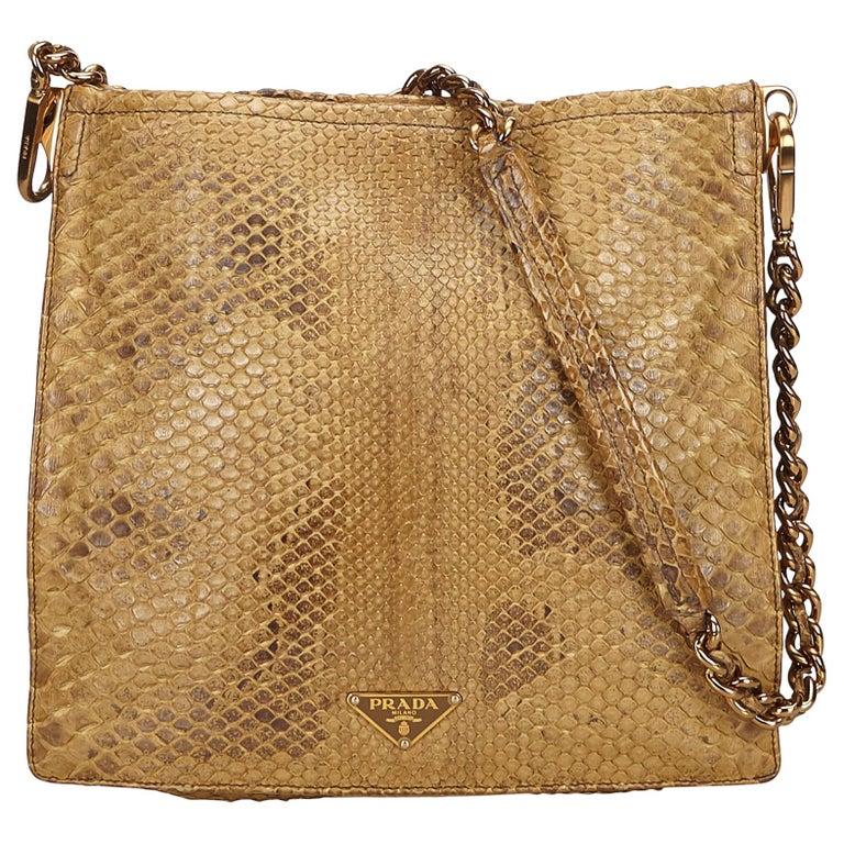8997bbd310fb Prada Brown Python Leather Chain Shoulder Bag at 1stdibs