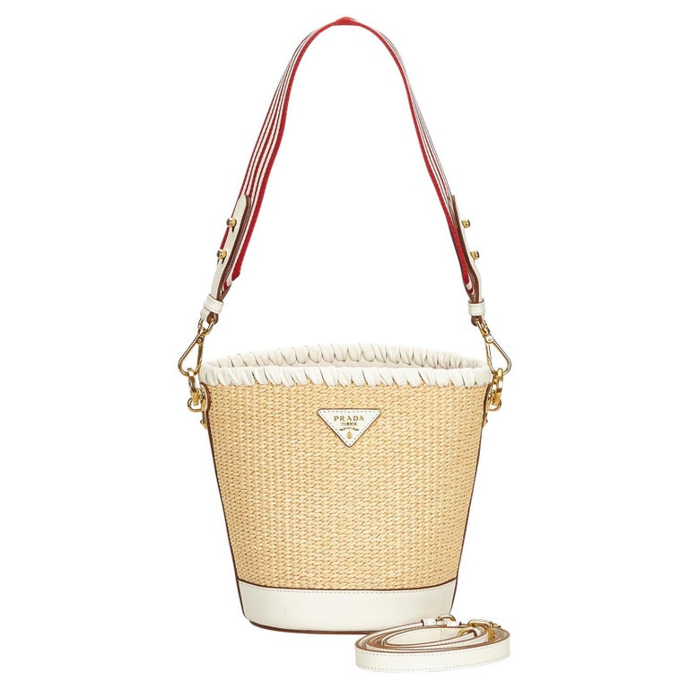 ad07f05ff432 Prada Brown Raffia Bucket Bag For Sale at 1stdibs