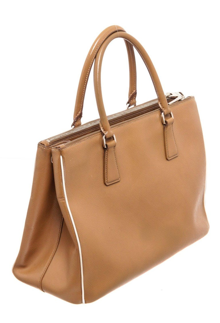 Prada Brown Saffiano Leather Double Zip Tote Bag For Sale 1