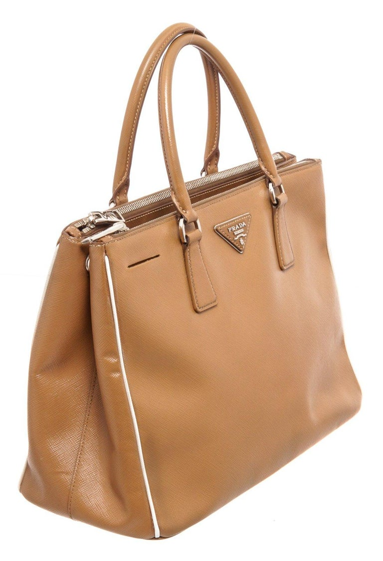 Prada Brown Saffiano Leather Double Zip Tote Bag For Sale 2