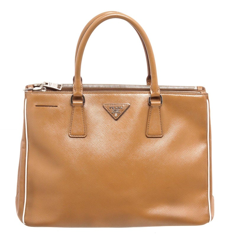 Prada Brown Saffiano Leather Double Zip Tote Bag For Sale 3
