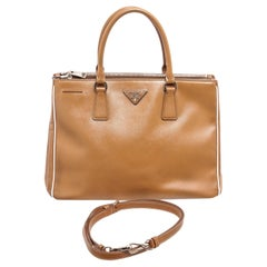 Prada Brown Saffiano Leather Double Zip Tote Bag