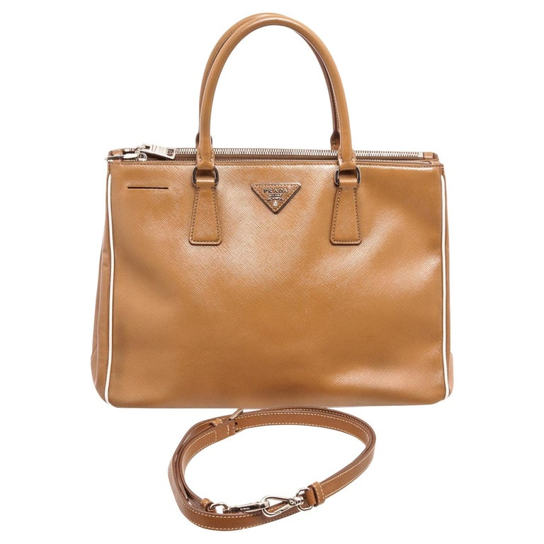 Prada Brown Saffiano Leather Double Zip Tote Bag For Sale