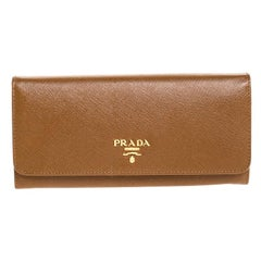 Prada Brown Saffiano Leather Flap Continental Wallet
