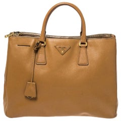 Prada Brown Saffiano Leather Large Double Zip Tote