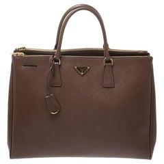 Prada Brown Saffiano Lux Leather Executive Double Zip Tote