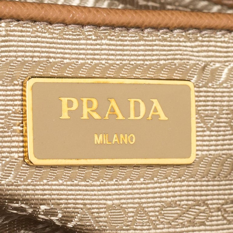 Prada Brown Saffiano Lux Leather Large Double Zip Tote For Sale 1