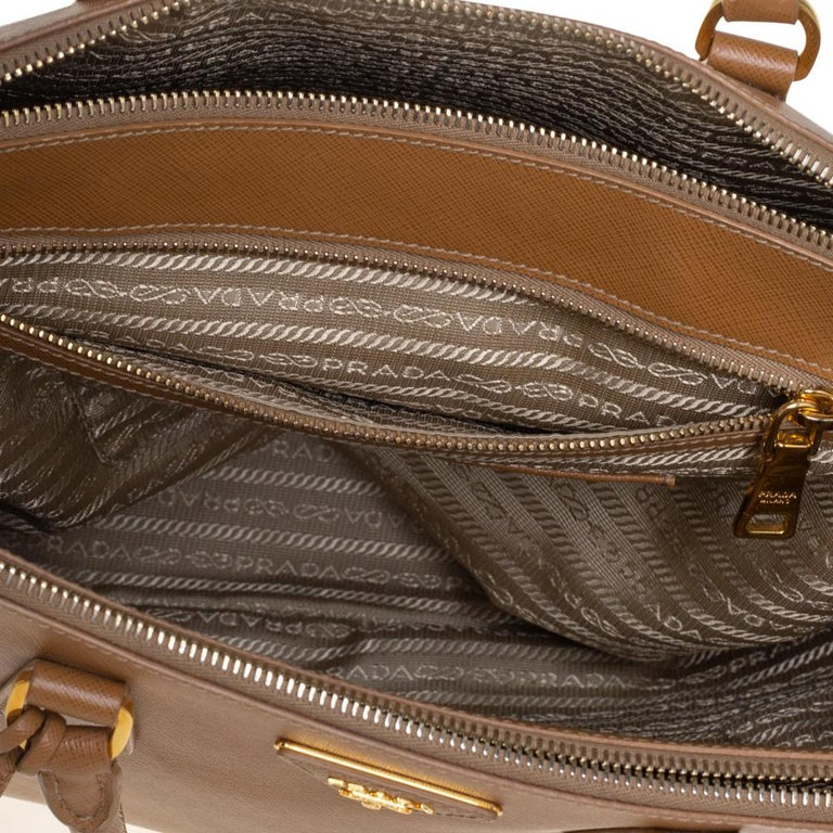 Prada Brown Saffiano Lux Leather Large Double Zip Tote For Sale 2