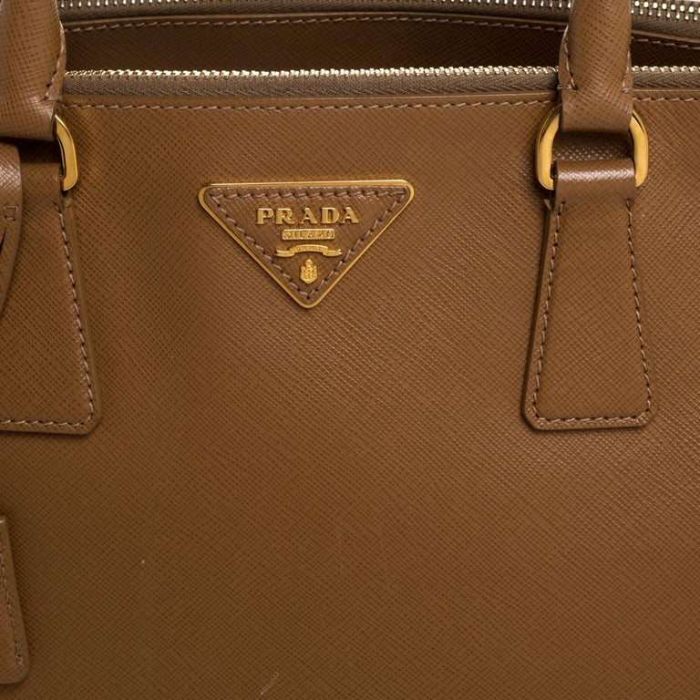 Prada Brown Saffiano Lux Leather Large Double Zip Tote For Sale 3