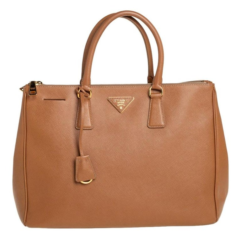 Prada Brown Saffiano Lux Leather Large Double Zip Tote For Sale