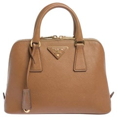Prada Brown Saffiano Lux Leather Small Promenade Bag