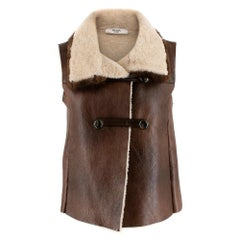 Prada Brown Shearling Lined Leather Gilet with Mink Fur Trim - Size US 2