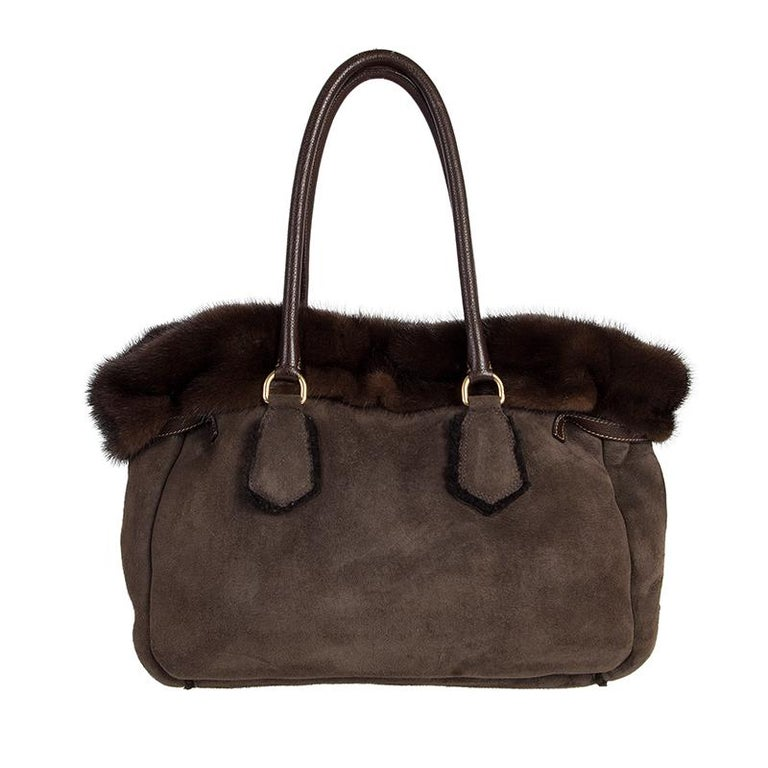 Black PRADA brown SHEARLING MINK TRIM Tote Bag For Sale