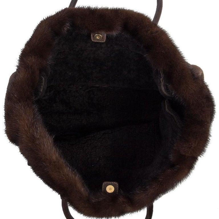 Women's PRADA brown SHEARLING MINK TRIM Tote Bag For Sale