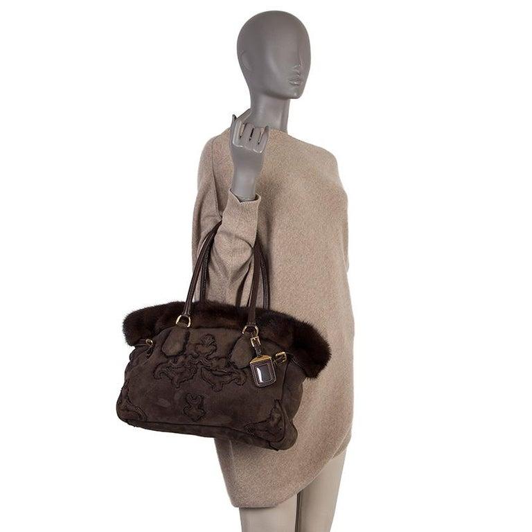PRADA brown SHEARLING MINK TRIM Tote Bag For Sale 2