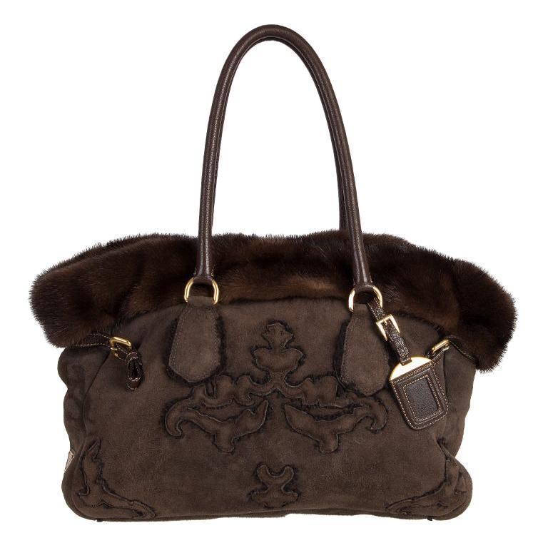 PRADA brown SHEARLING MINK TRIM Tote Bag For Sale