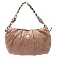 Prada Brown Shimmering Leather Chain Hobo