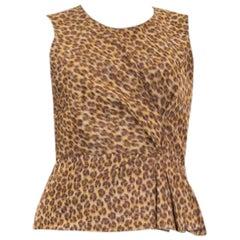 PRADA brown silk blend LEOPARD Sleeveless Blouse Shirt 42 M