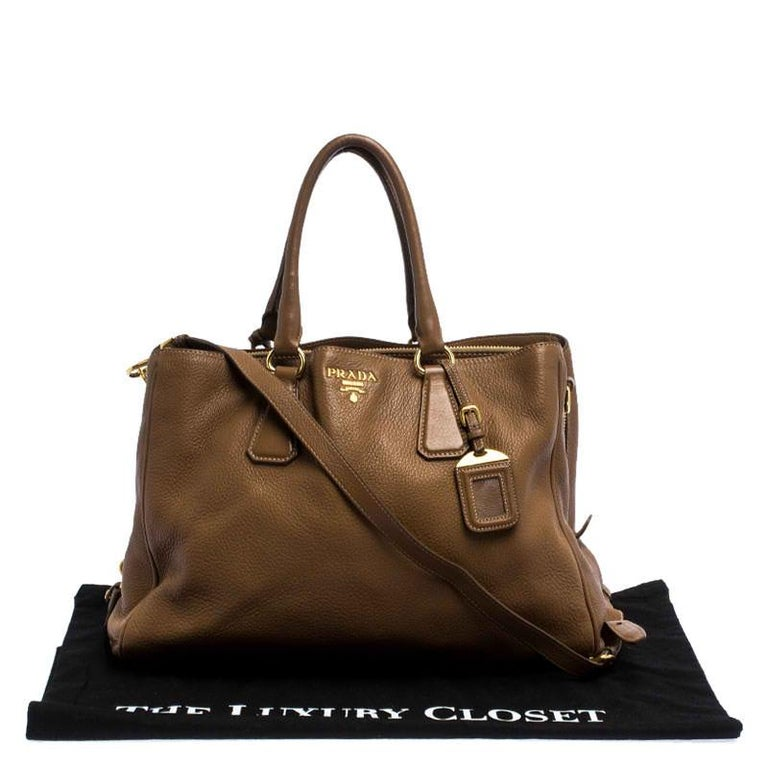 Prada Brown Soft Leather Zipped Tote For Sale 7